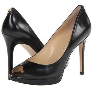 Ivanka Trump Maggie 9 black leather peeptoe heels